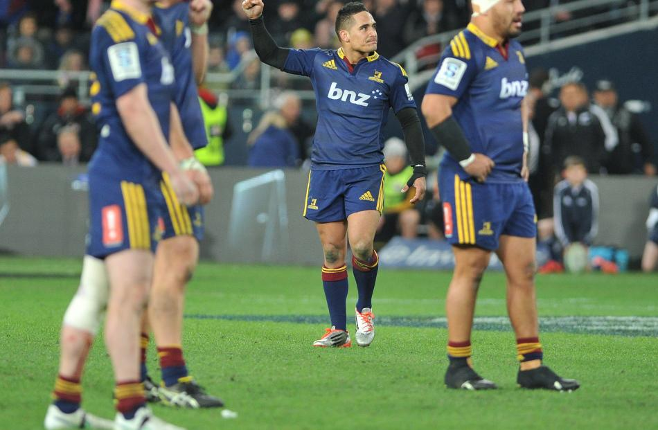 Aaron Smith celebrates at the final whistle. Super Rugby Qualifying Final match between the...
