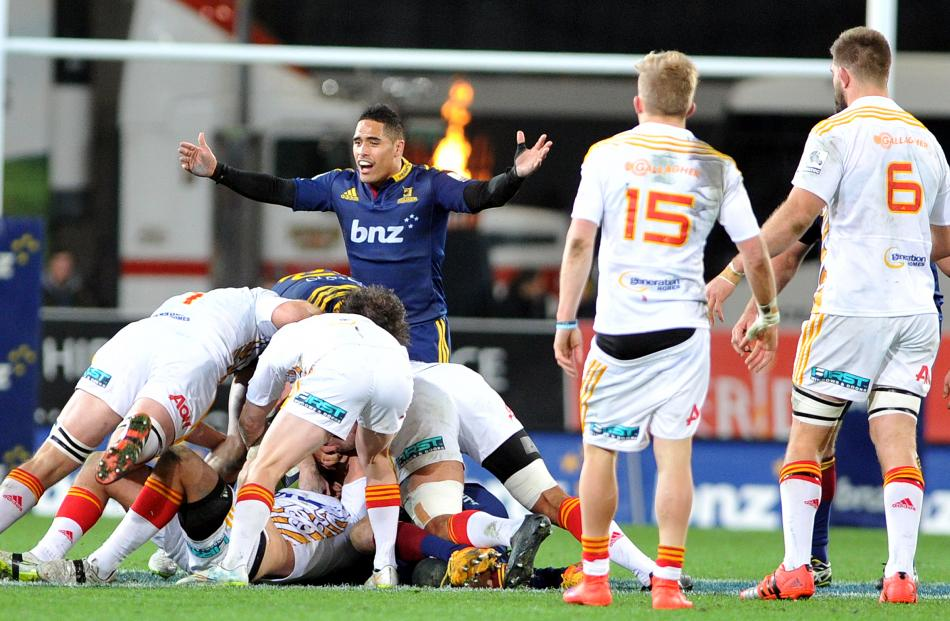 Aaron Smith. Super Rugby Qualifying Final match between the Highlanders and the Chiefs at Forsyth...