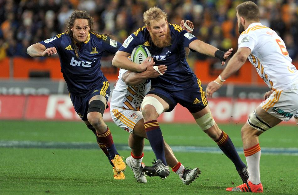 Mark Reddish and Dan Pyor on the charge against the Chiefs.Super Rugby Qualifying Final match...
