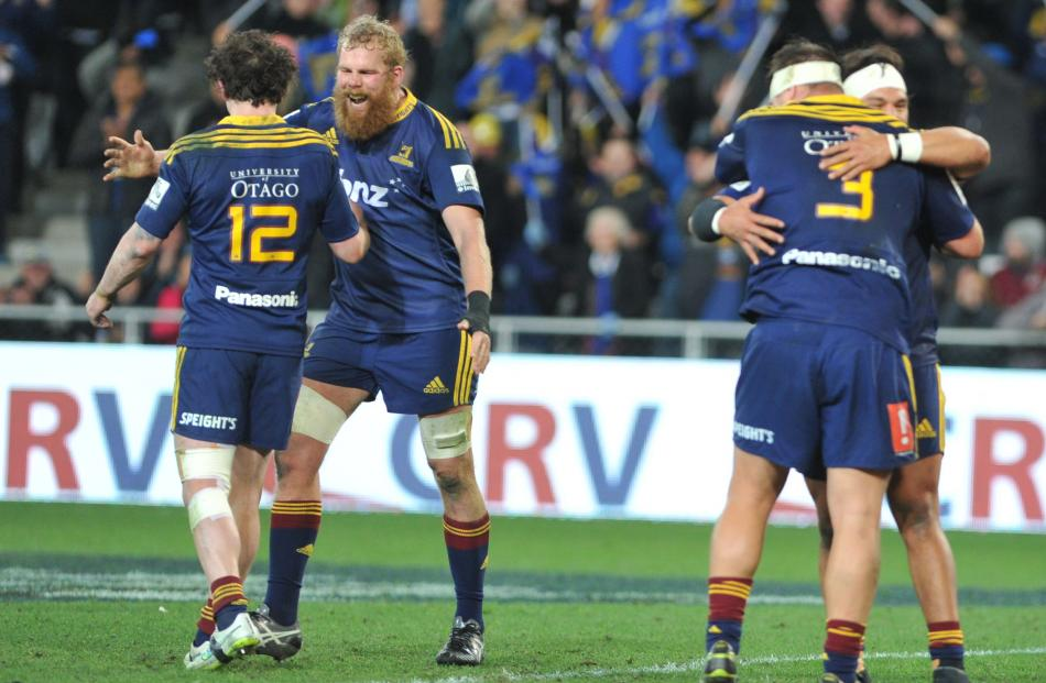 Mark Reddish celebrates the Highlanders. Super Rugby Qualifying Final match between the...
