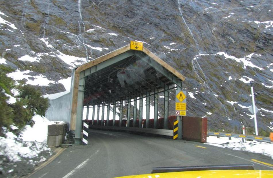 The temporary portal at the western end of the Homer Tunnel.