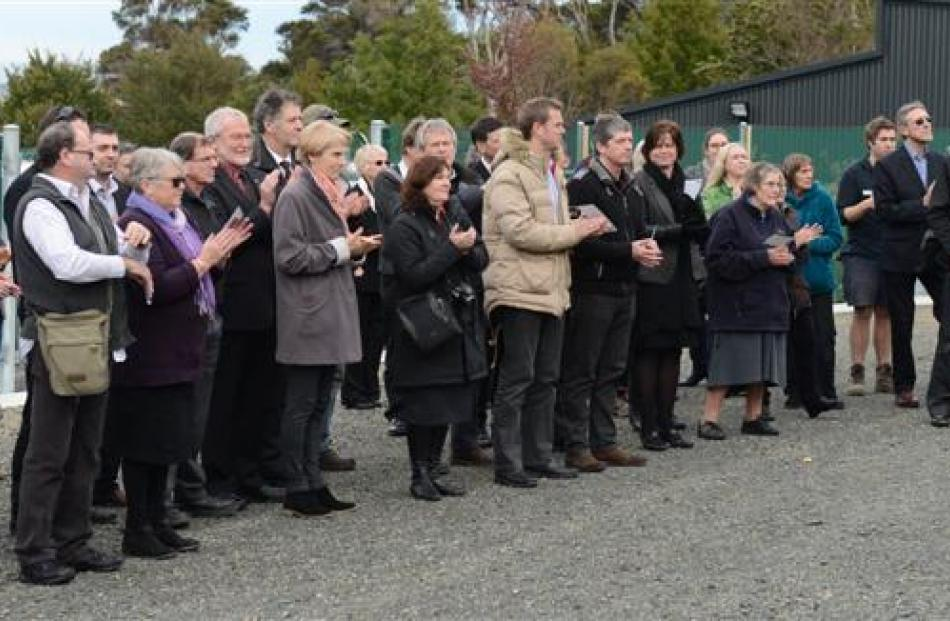 Invited guests watch Dunedin Mayor Dave Cull officially open the nursery.