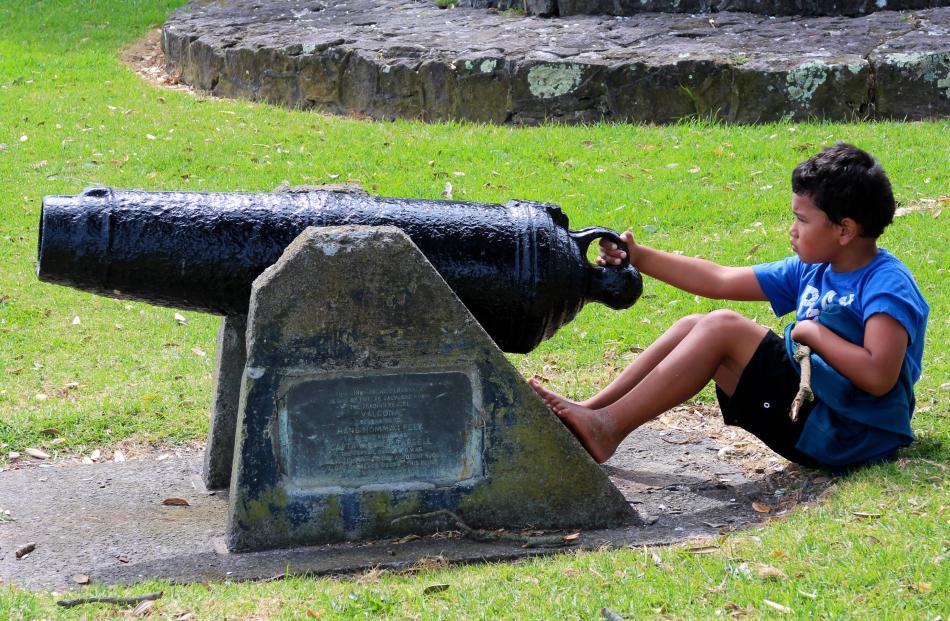 A new generation of Ngati Whakaue takes aim toward Te Tumu with the cannon named Te Haupapa, the...