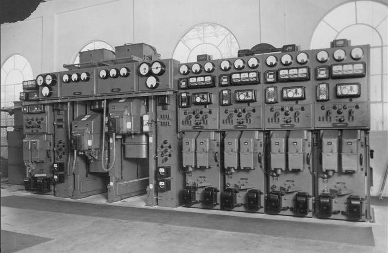 Switchgear at the substation in its heyday - disconnected but still in place.