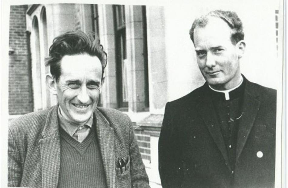 James K. Baxter (left) and John Weir two years before the poet began his Jerusalem community....