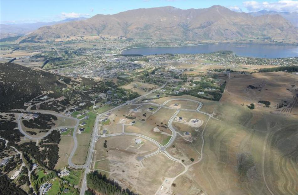 An aerial view of Wanaka showing the subdivision area. Photo by Stephen Jaquiery