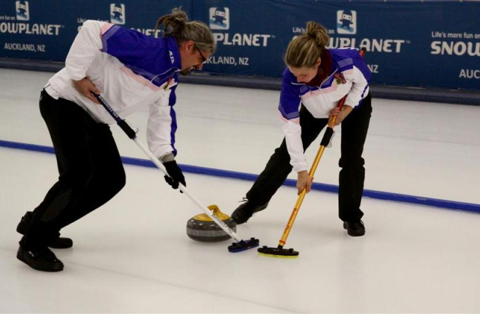 In action at the Naseby indoor curling rink on Monday.