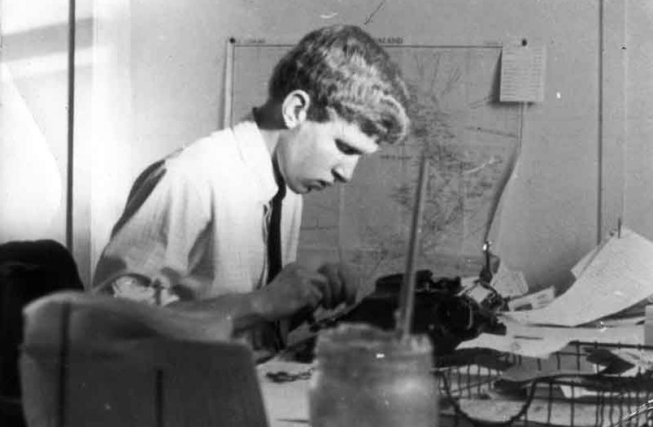 David Bruce as a young cadet reporter at work for the Oamaru Mail, about 1969.