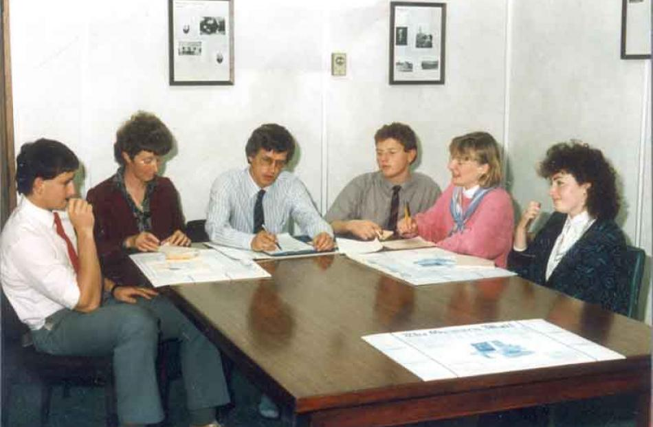 At an Oamaru Mail news conference - (from left) Greg Cayford, Jo Keppel, David Bruce, Andrew...