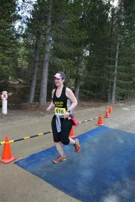 Merrilee Williams (35), of Dunedin, maintains pace in the 60km team race.