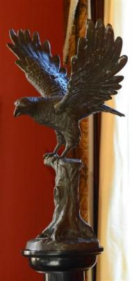 The eagle on a plinth was bought by Margaret Barker at an antiques shop in Napier. Photos by...