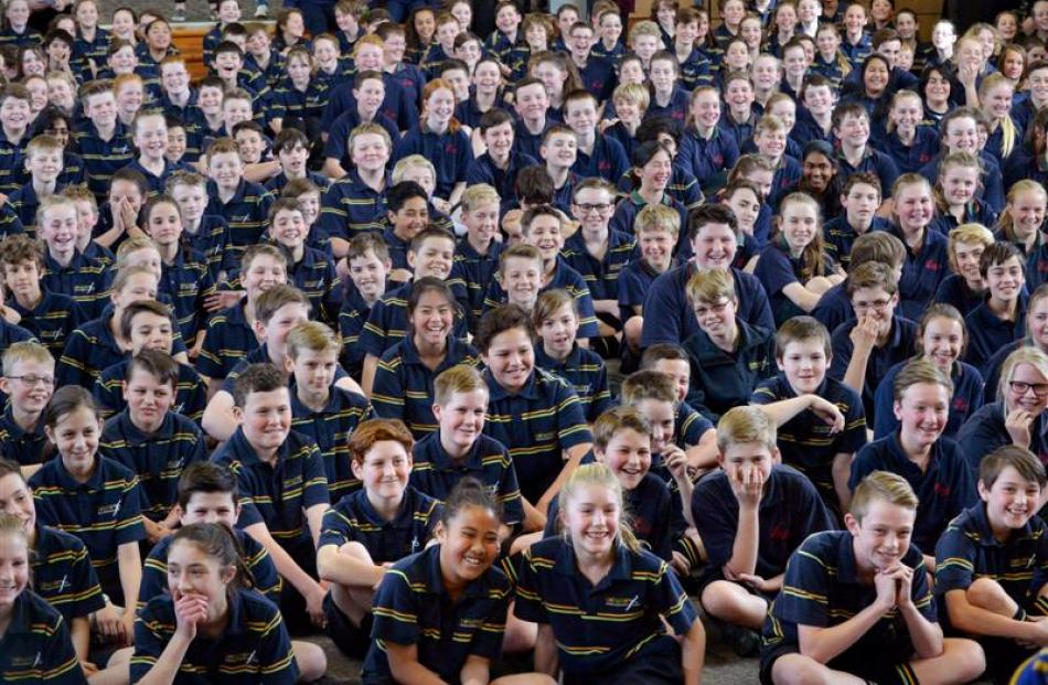 Mataura School pupils perform a haka for the visiting All Blacks. Photo by Photo by Gerard O'Brien