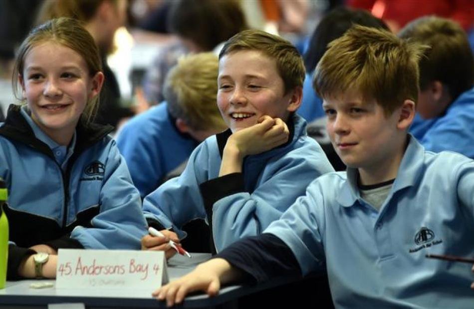 Andersons Bay School pupils (from left) Bella O'Connor (11), Cole Gibbons (10) and Thomas McLean ...
