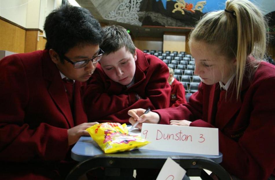 Team Dunstan 3 (from left) Earl Tumabini (13), Logan McNally (14), and Suzie Morrow (14) think...