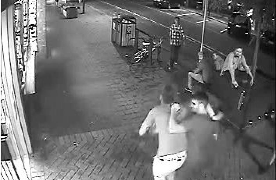 A CCTV camera still of the moment Robert Mangan attacked Aaron Rice-Williams. Photo supplied.