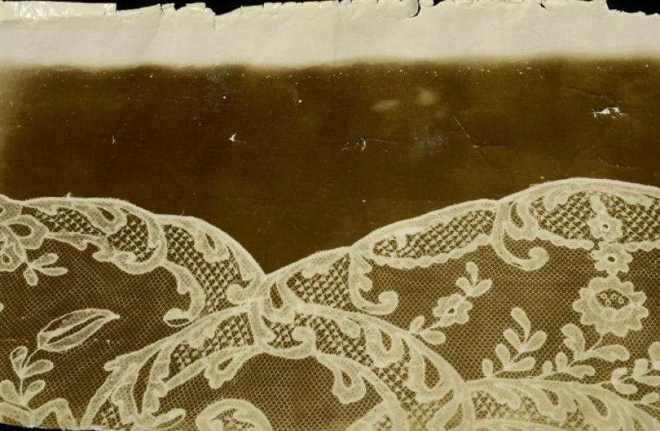 This photogram of an existing piece of Carrickmacross lace came from the United Kingdom. Brenda...