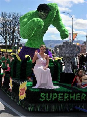 The Alexandra hockey and rugby clubs' entry  Super Heroes with princess Bridget Naylor aboard,...