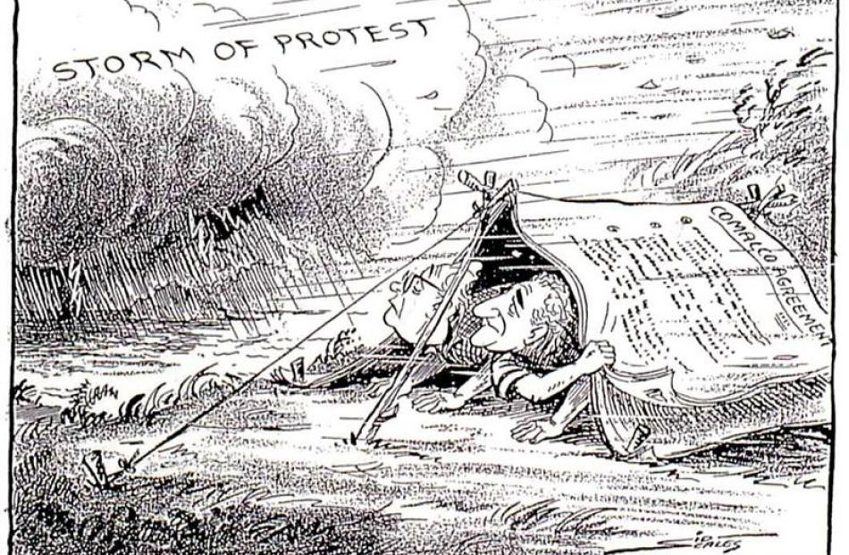 This drawing by political cartoonist Sid Scales, depicting public opposition to government and...