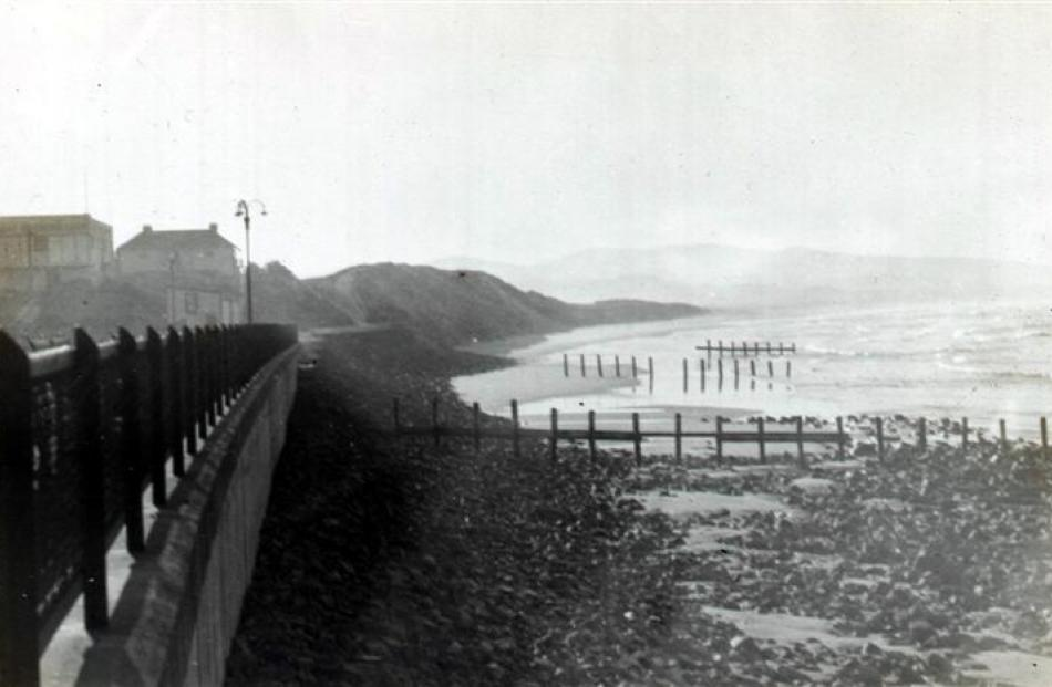 A 1912 photograph shows the groynes which had been installed in 1902-06 in a dilapidated state on...