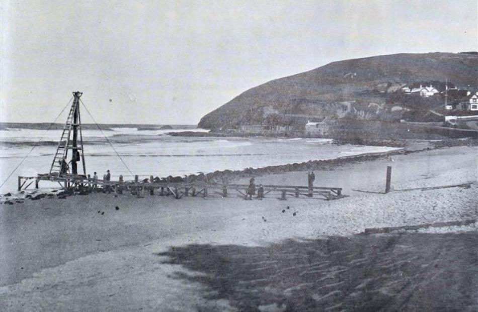 A groyne under construction at St Clair in 1903. The object of the groyne was to cause sand to...