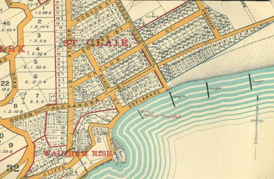 A 1924 plan of St Clair showing the 1921 double-row groynes and an original 1902 groyne the St...