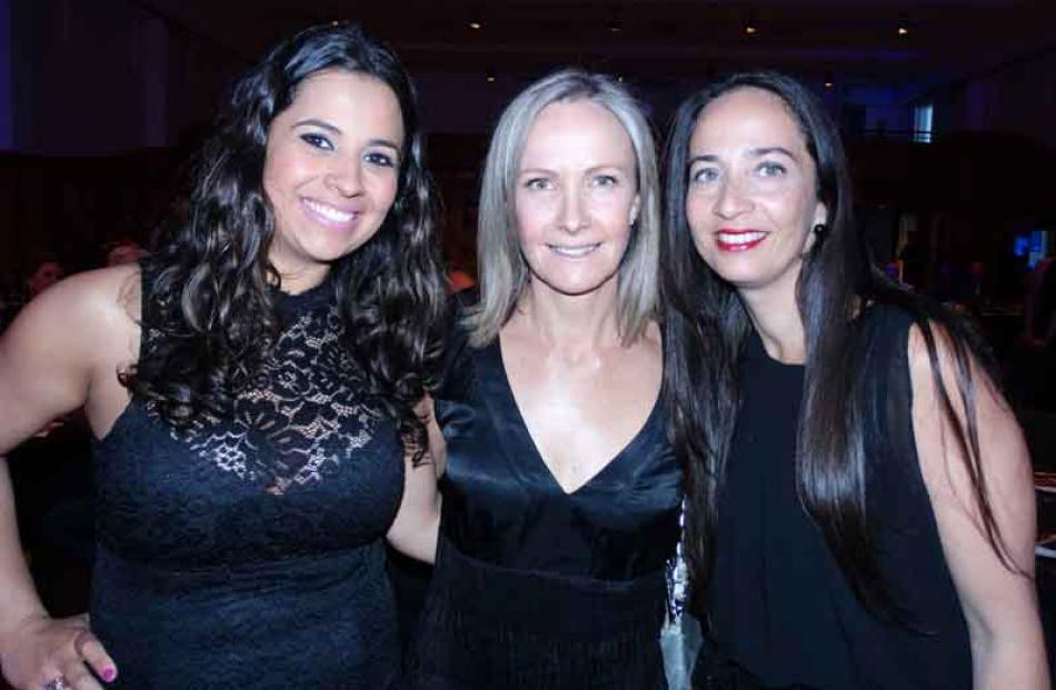 Lara Medina and Suzy Diamond, both of Queenstown, with Monique Valle of Auckland.