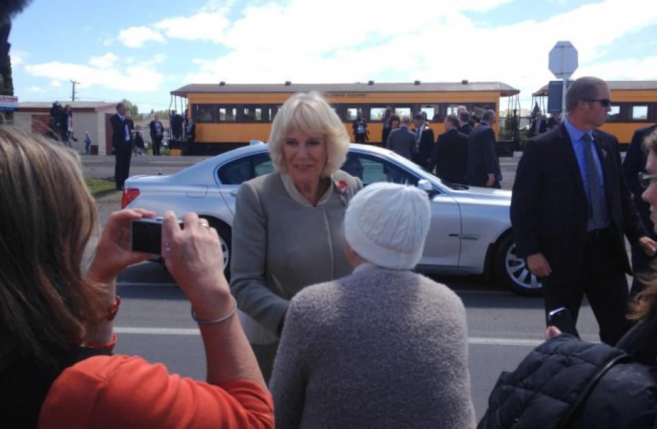 The Duchess of Cornwall chats to some of the crowd in Mosgiel. Photo Shawn McAvinue