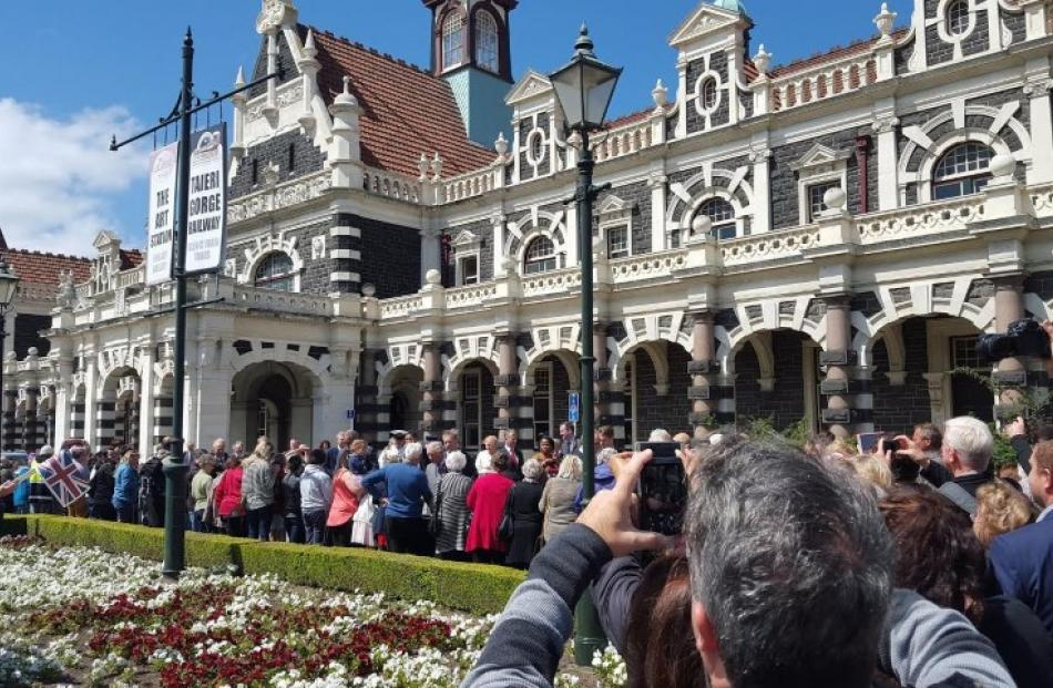The Royals arrived to an enthusiastic welcome at Dunedin Railway Station. Photo Craig Borley