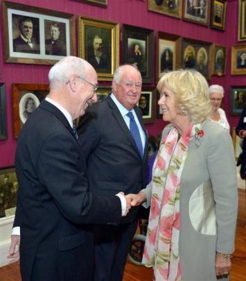The duchess meets Dr Royden Somerville in the Smith Gallery at Toitu Otago Settlers Museum....