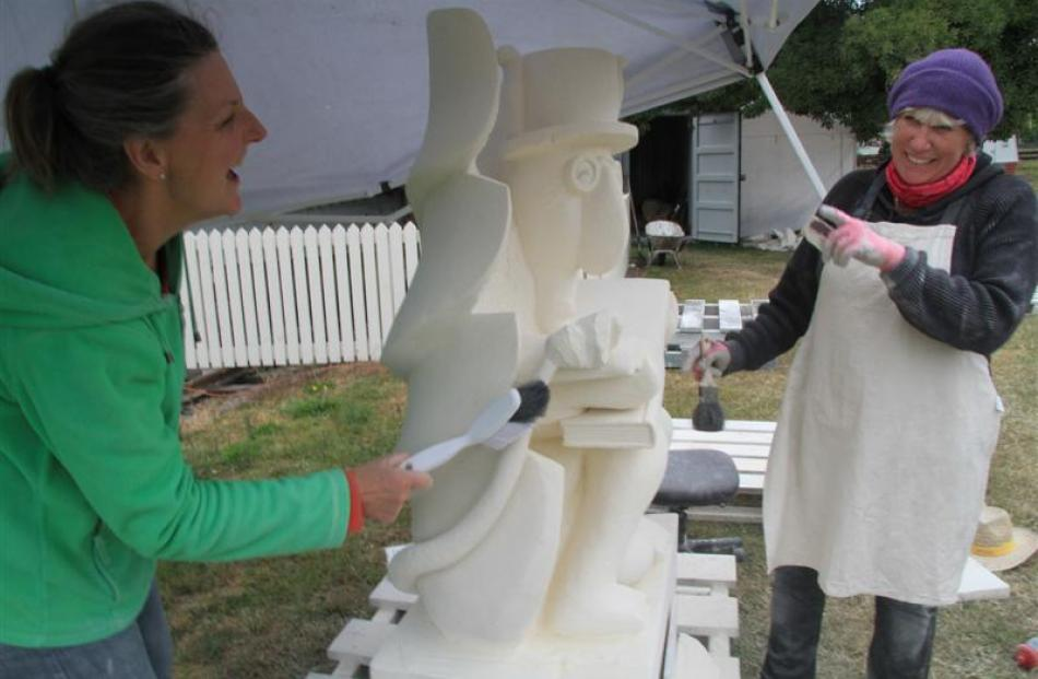 Storyteller Stone Carvers of Waimate's Jane Scott (left) and Fiona Bowmar are two of six artists...