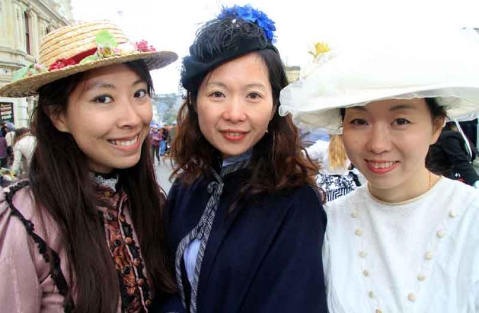 Priscilla Ho of Hong Kong, with Yan Yuan and Wenwen Gong, both of Shanghai.