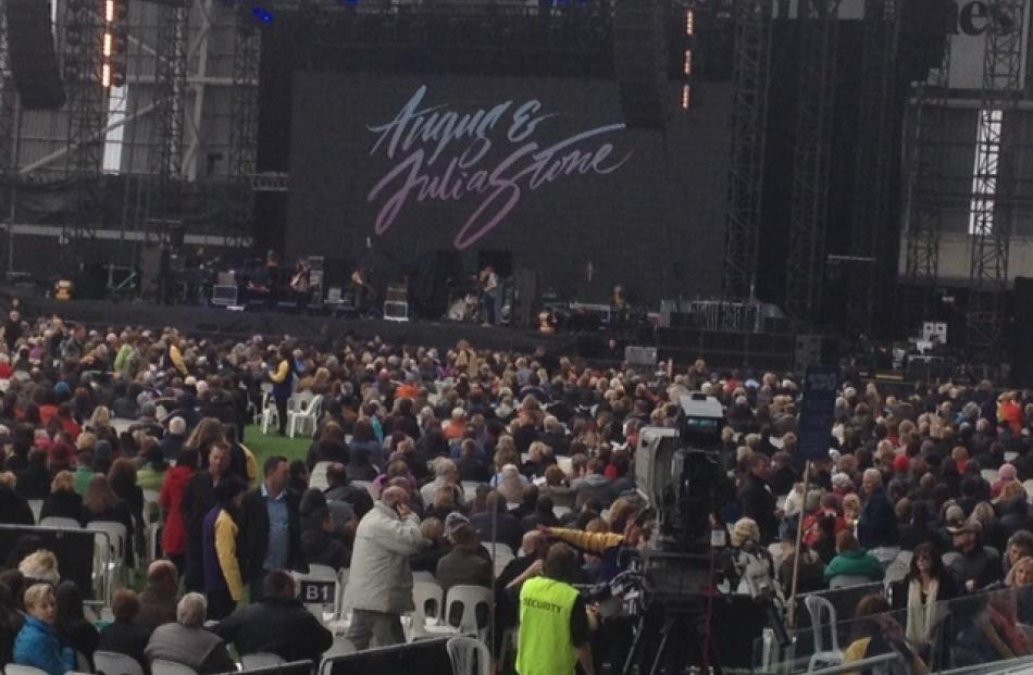 Support act Angus and Julia Stone entertain the crowd at Forsyth Barr Stadium. Photo by Stephen...