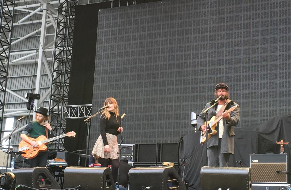 Support act Angus and Julia Stone entertain the crowd at Forsyth Barr Stadium. Photo by Craig Baxter