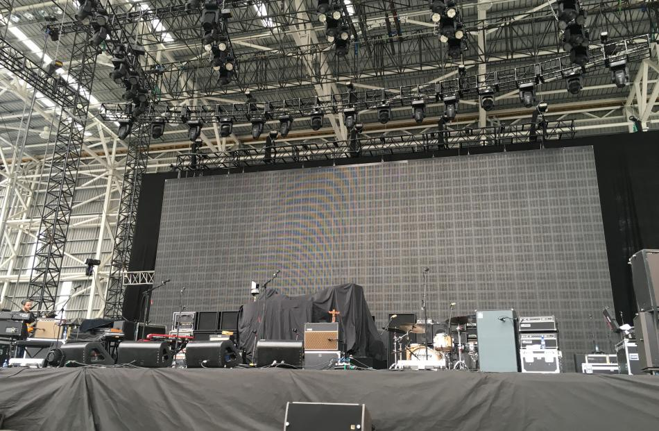 The stage is readied for tonight's Fleetwood Mac concert at Dunedin's Forsyth Barr Stadium. Photo...