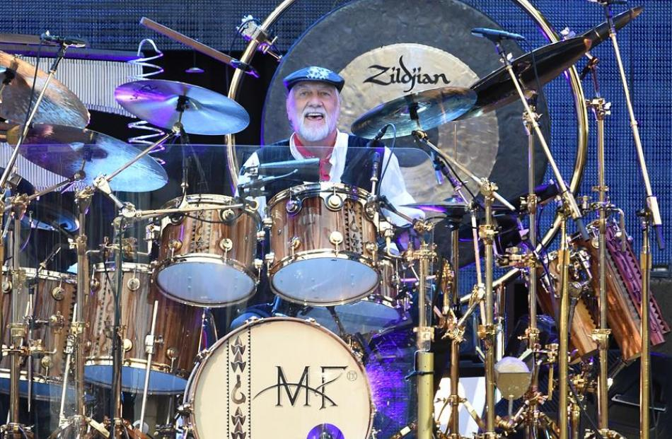 Fleetwood Mac drummer Mick Fleetwood lets out a grin at last night's concert at Forsyth Barr...