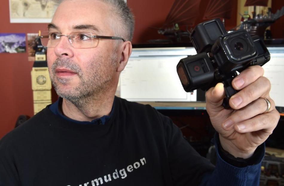 ARL software developer Craig McNaughton holds a 360 degree camera.