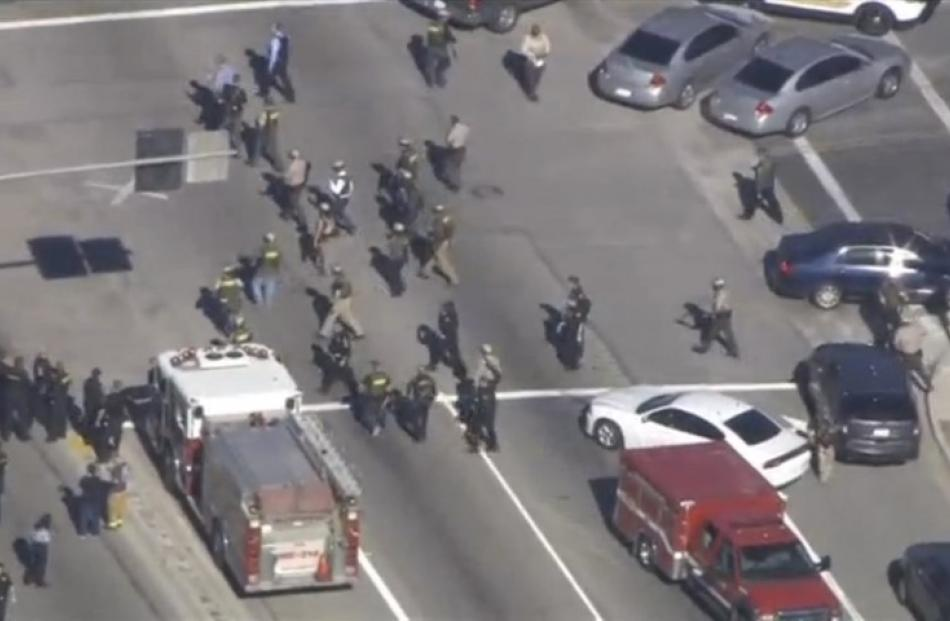 First responders arrive at the scene of the shooting.