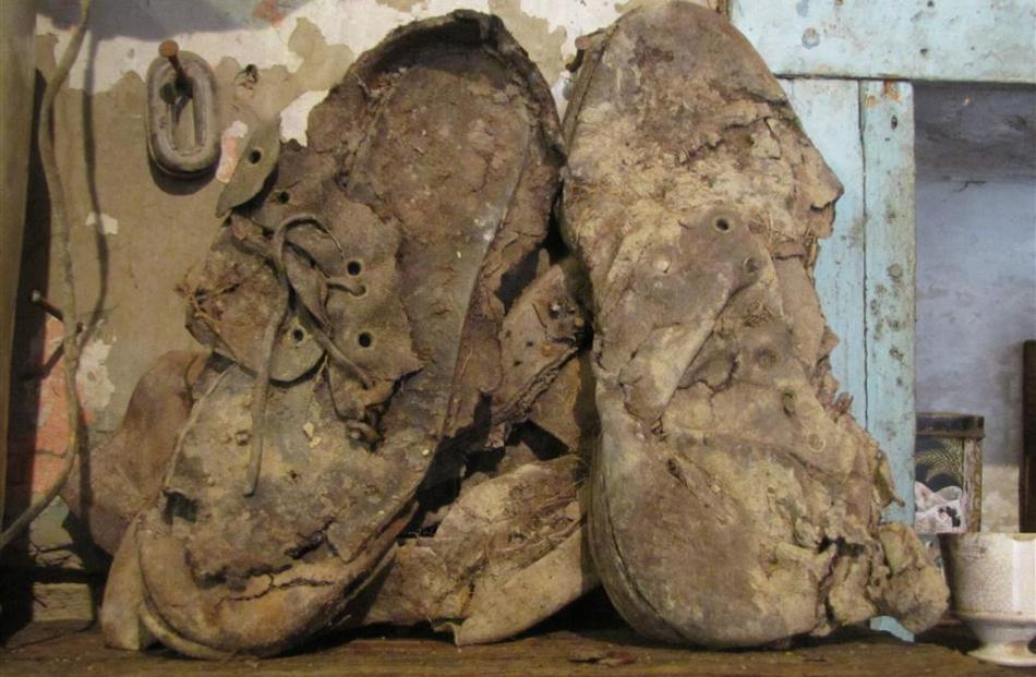 Leather shoes believed to have belonged to Mattie Oliver in the 1870s.