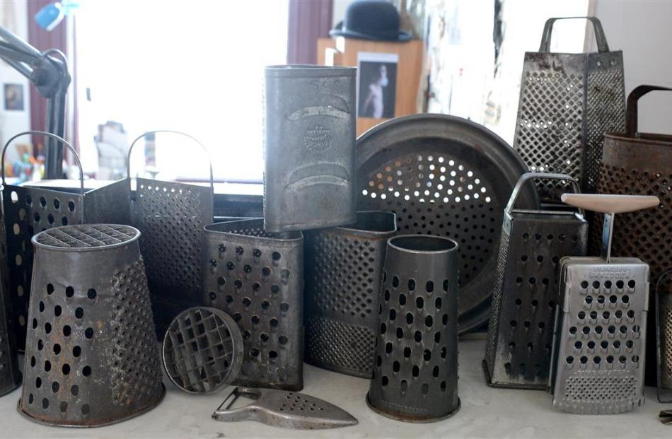 Old cheese graters waiting to be transformed.