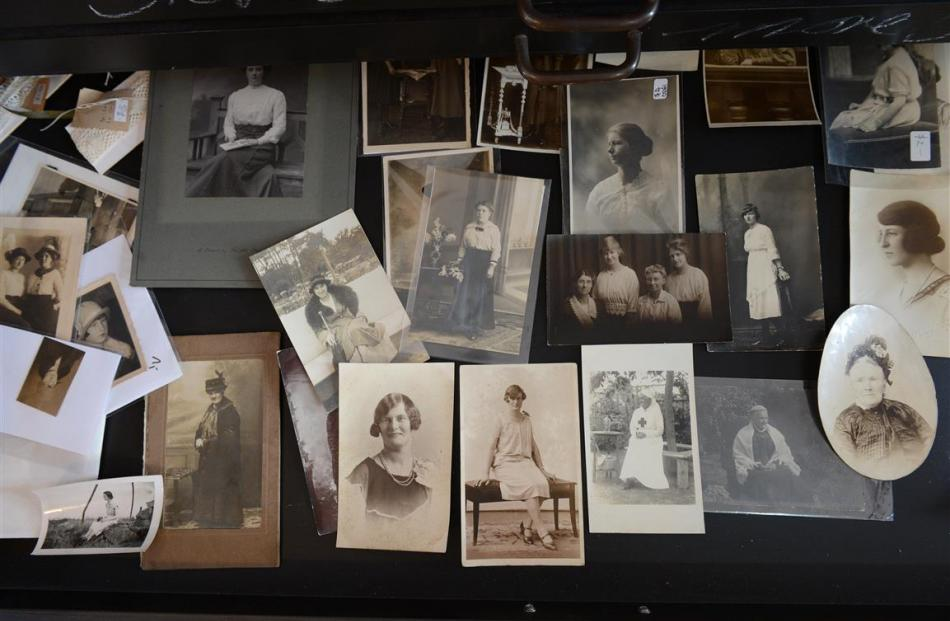 Her ''spinster'' drawer of vintage photographs of women.