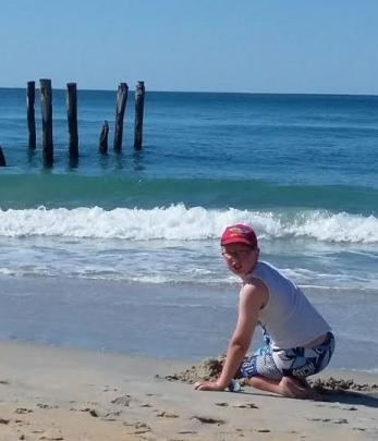 Brandon Cleaver (11) having fun at St Clair beach. Photo Michelle Cleaver