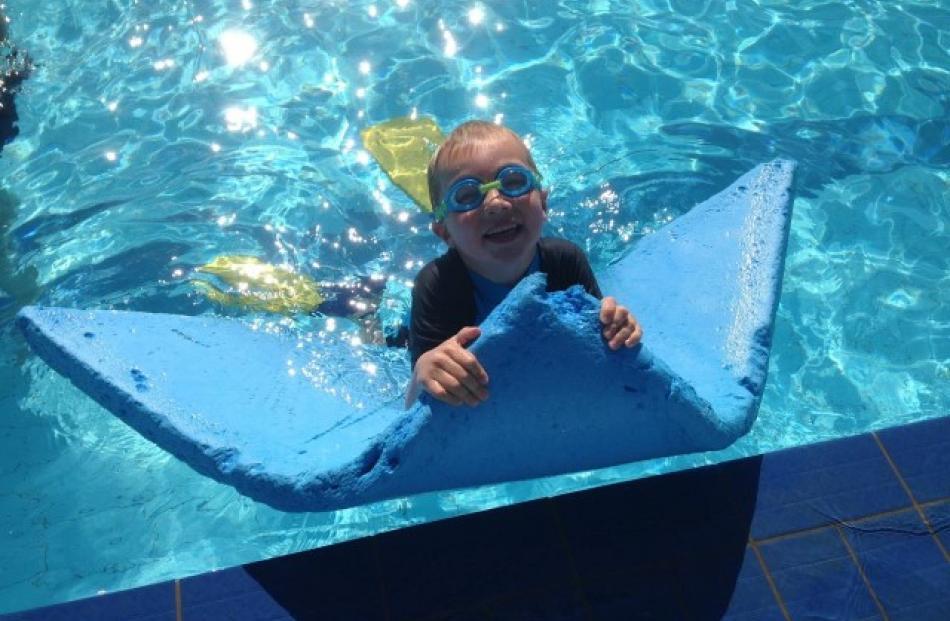 Conan Tabb having fun at the St Clair Hot Water Pool. Photo Delaine Tabb