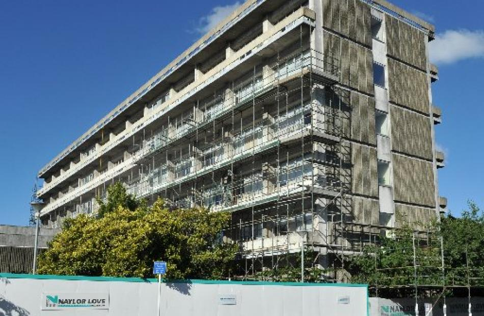 Work progresses on removing balustrades and balconies from the University of Otago's arts...
