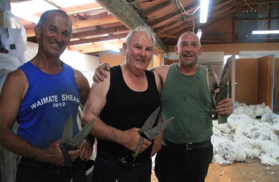 Ross Kelman, left, Peter Casserly and Steve Bool say blade shearers are a ''dying breed''.