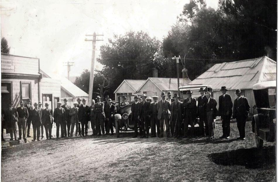 Waipori, Dunedin and Government dignitaries in Waipori on Settlement Day, in March, 1924, the day...
