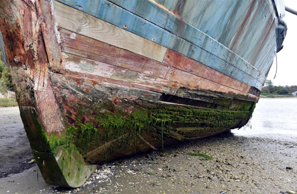 Rotting boards on The Portland's hull.