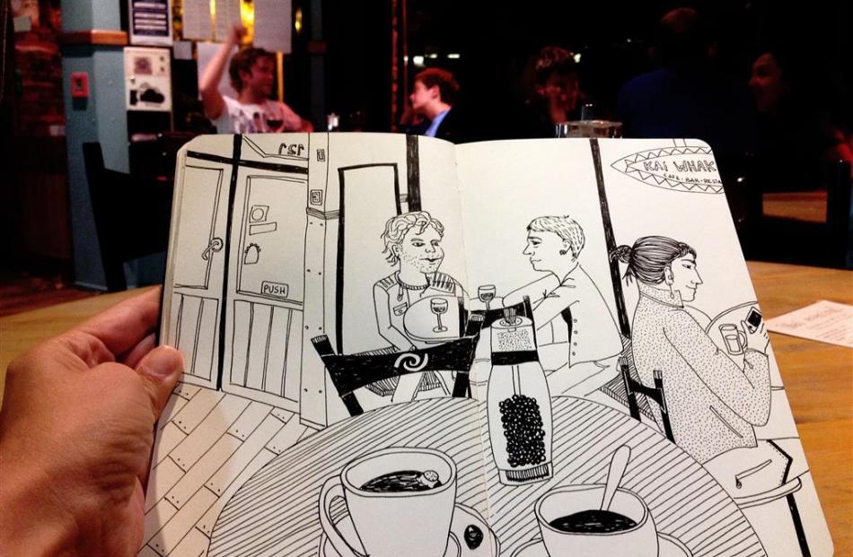 Cafe-goers at Kai Whakapai, as seen through the eyes of Colombian artist Marcelilla Pilla.