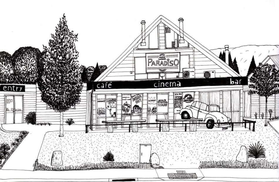 Cinema Paradiso as drawn by Argentinian artist Leandro Baud.