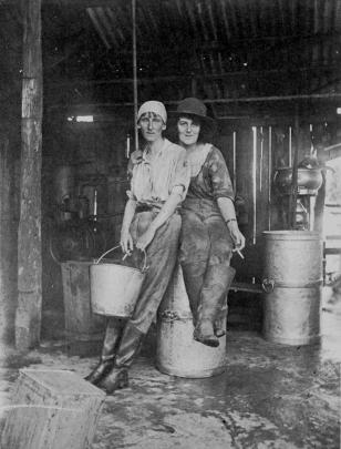 Dorothy Bogle and Margaret Vincent take a smoko break while working in George Northcroft's...
