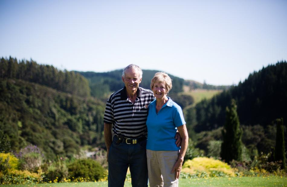 John and Anna Mackay at their Waianakarua farmstay overlooking the river.